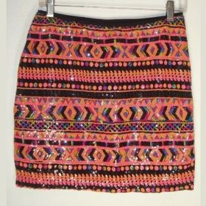 PURE HYPE sz Large Sequin Patterned Stretch Skirt